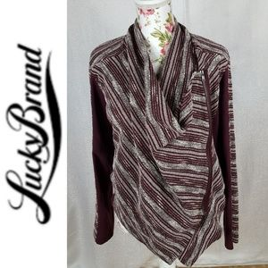 LUCKY BRAND Woven Zip Up A Symmetric Cardigan
